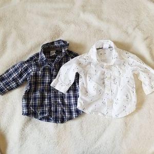 2 Carters button down shirts 3M
